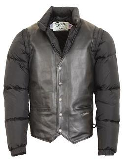 126 - Men's Down-Filled Leather Vest with Zip-Off Sleeves