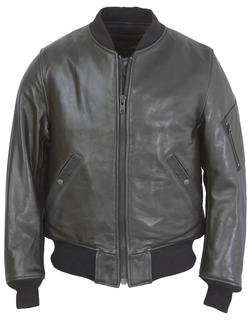 224 - Leather MA-1 Flight Jacket (Black)