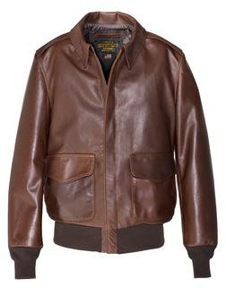 574 - Waxed Natural Pebbled Cowhide A-2 Leather Flight Jacket (Brown) (Brown)