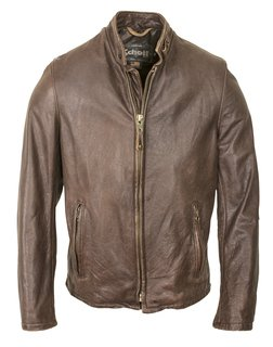 654VN - Vintaged Cowhide Café Racer Leather Jacket (Brown)