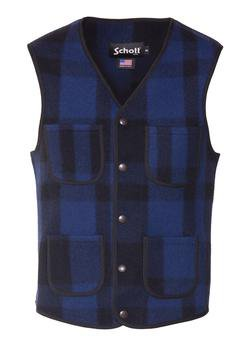 745V - MEN'S WOOL PLAID VEST (Grey)