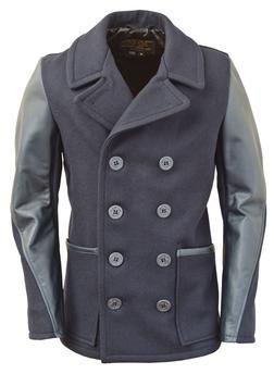 DU799 - Men's Slim Fit Pea Coat (Navy)