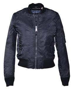 928JW - Women's Nylon Flight Jacket (Black)