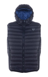 9515DV - Nylon ultra light down filled  Silverado Vest with hood (Black)