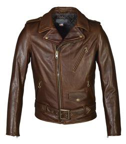519 - Waxy Natural Black Cowhide 50's Perfecto Motorcycle Leather Jacket (Brown)