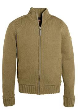 "F1250 - 27"" Wool/Acrylic blend zip front sweater (Olive)"