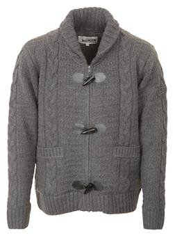"F1328 - 26"" Wool/Acrylic Blend Cable Knit Sweater (Charcoal)"