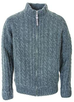 "F1410 - 27"" Cableknit Sweater Jacket (Charcoal)"