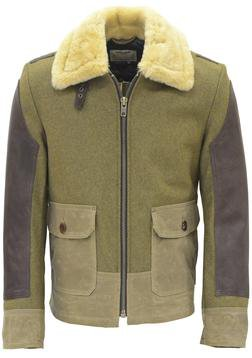 P797S - ANJ4 Leather and Waxed Cotton Bomber Jacket (Olive)
