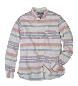 SH1323 - Lightweight Fine Weave Cotton Gauze Horizontal Striped Shirt (Multicolor)
