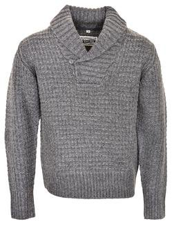 SW1372 - Wool Blend Heavy Weight ¼ Pullover Waffle Knit Sweater (Charcoal)