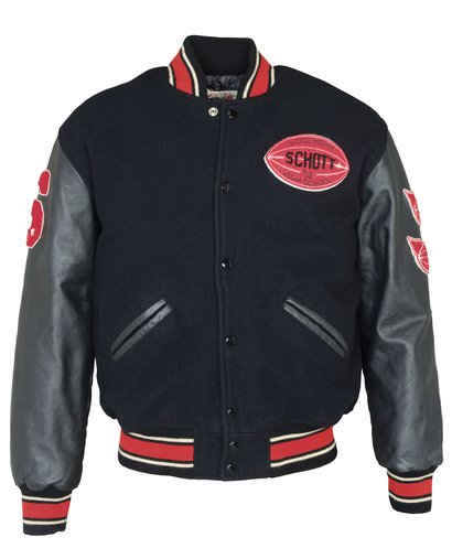 "71270 - 27"" Vintaged wool blend varsity jacket"