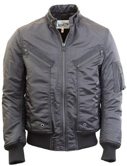 Black Satin Aviator Jacket